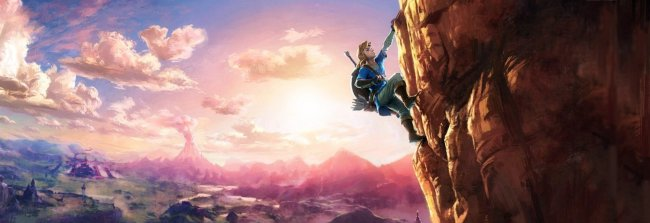 Se Link paraglide i The Legend of Zelda: Breath of the Wild