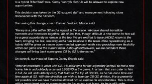 G2 Esports drop kennyS, and add JaCkz to the roster