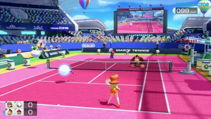 Gameplay: Mario Tennis: Ultra Smash - Classic & Simple Doubles (Daisy & Boo vs DK & Mario)