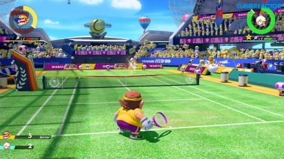 Mario Tennis Aces - Wario vs Rosalina Pro Gameplay
