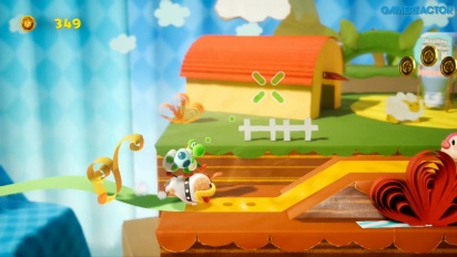 Yoshi's Crafted World - Ribbon Level Poochy Gameplay